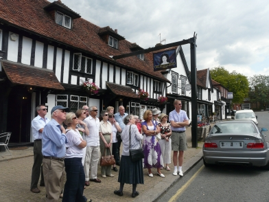 Pat Clarke and her followers outside the Queens Head - no bears here today.